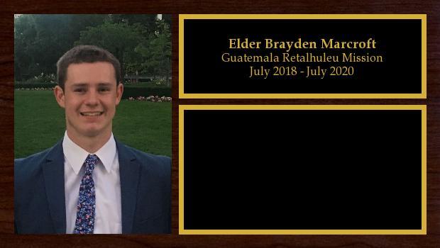 July 2018 to July 2020<br/>Elder Brayden Marcroft