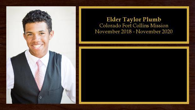 November 2018 to November 2020<br/>Elder Taylor Plumb