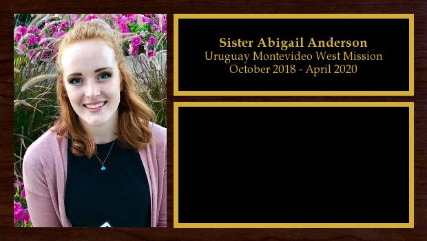 October 2018 to March 2020<br/>Sister Abigail Anderson