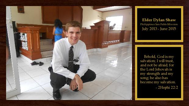 July 2013 to June 2015<br/>Elder Dylan Shaw