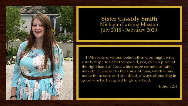 July 2018 to February 2020<br/>Sister Cassidy Smith