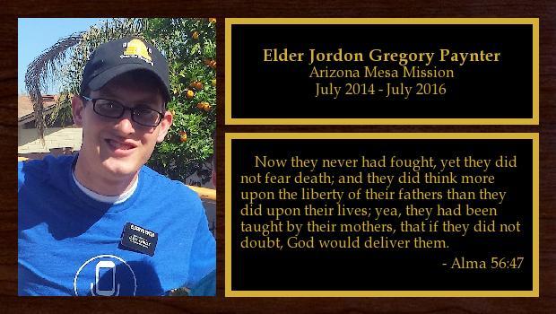 July 2014 to July 2016<br/>Elder Jordon Gregory Paynter