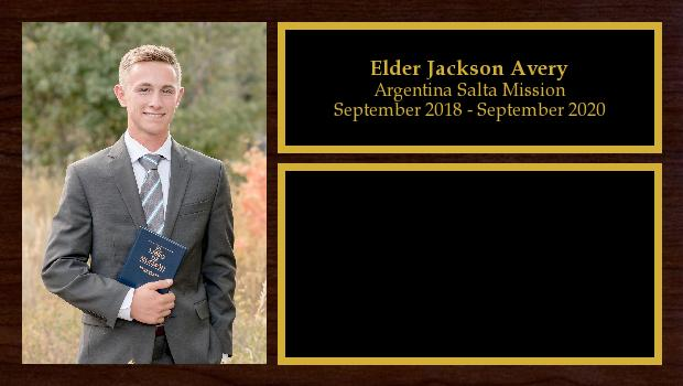 September 2018 to August 2020<br/>Elder Jackson Avery