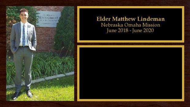 June 2018 to June 2020<br/>Elder Matthew Lindeman