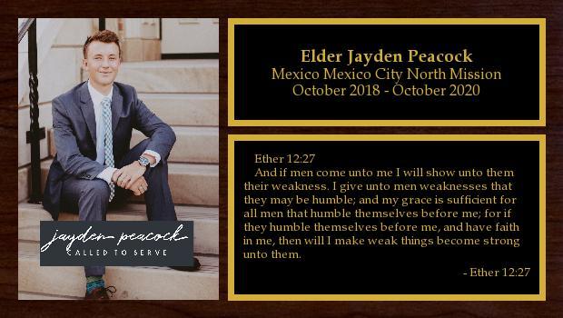 October 2018 to October 2020<br/>Elder Jayden Peacock