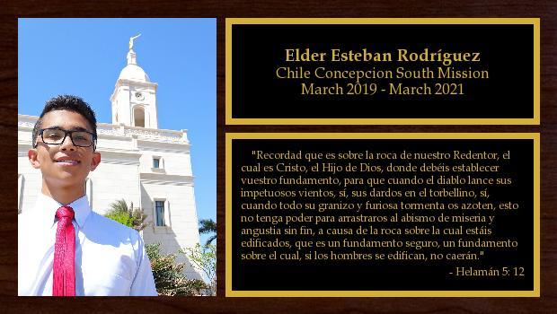 March 2019 to March 2021<br/>Elder Esteban Rodríguez
