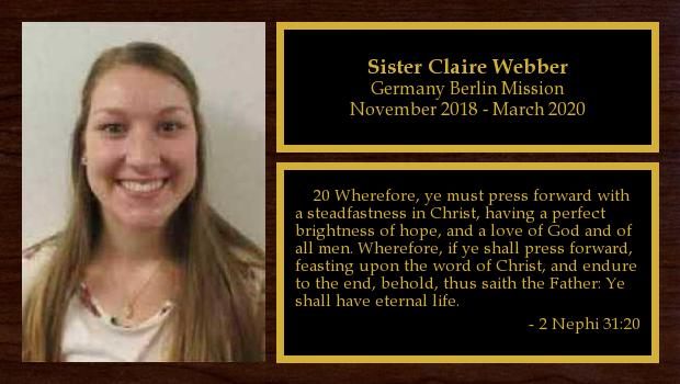 November 2018 to March 2020<br/>Sister Claire Webber