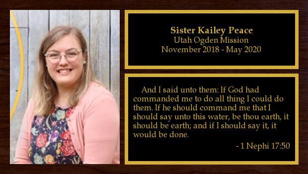 November 2018 to May 2020<br/>Sister Kailey Peace