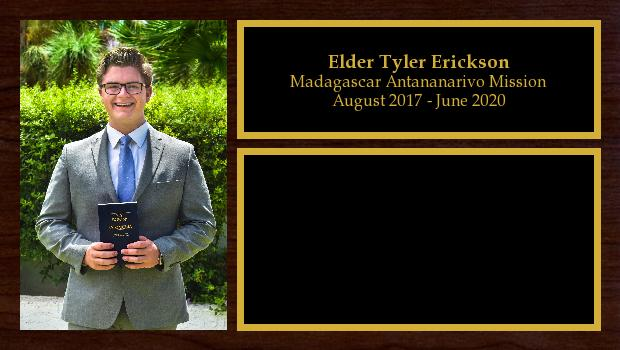 August 2017 to June 2020<br/>Elder Tyler Erickson