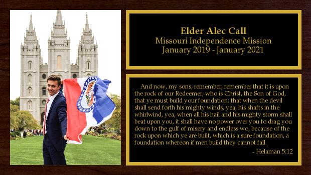 January 2019 to January 2021<br/>Elder Alec Call