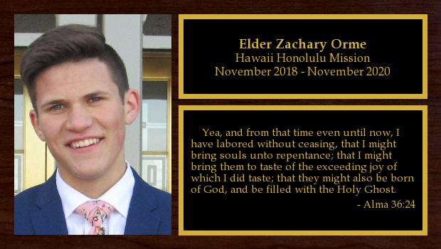 November 2018 to November 2020<br/>Elder Zachary Orme