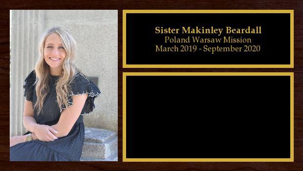 March 2019 to September 2020<br/>Sister Makinley Beardall