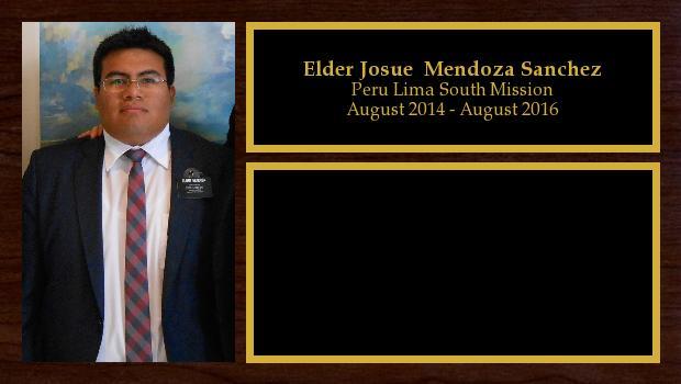 August 2014 to August 2016<br/>Elder Josue  Mendoza Sanchez