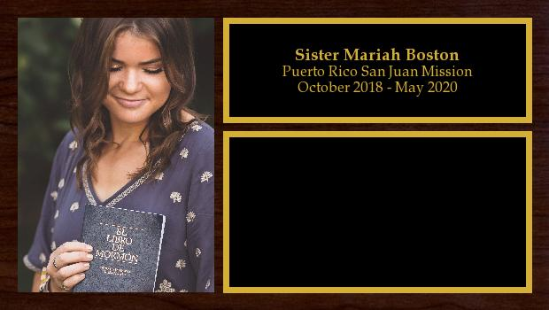 October 2018 to May 2020<br/>Sister Mariah Boston