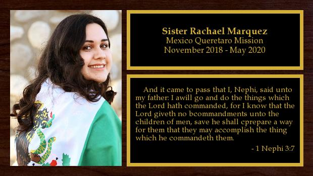 November 2018 to May 2020<br/>Sister Rachael Marquez