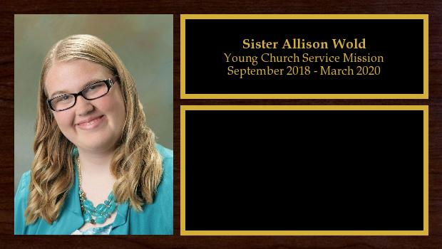 September 2018 to March 2020<br/>Sister Allison Wold