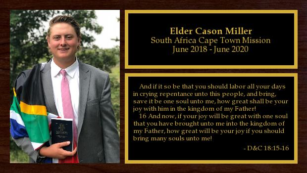 June 2018 to June 2020<br/>Elder Cason Miller