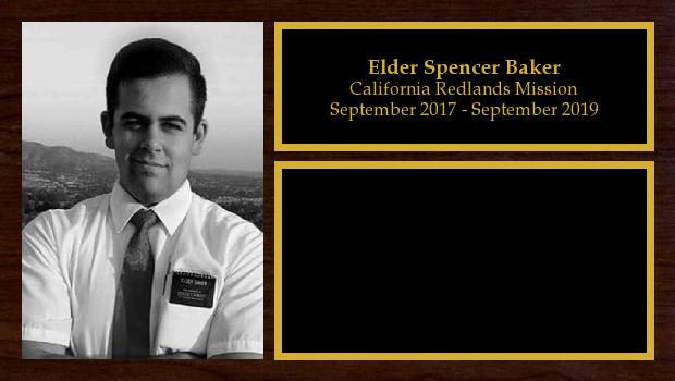 September 2017 to September 2019<br/>Elder Spencer Baker