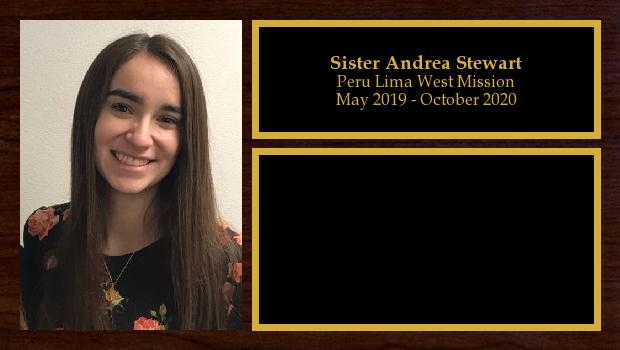 May 2019 to October 2020<br/>Sister Andrea Stewart