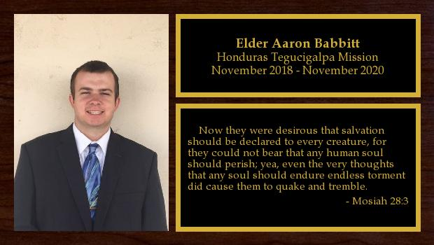 November 2018 to November 2020<br/>Elder Aaron Babbitt