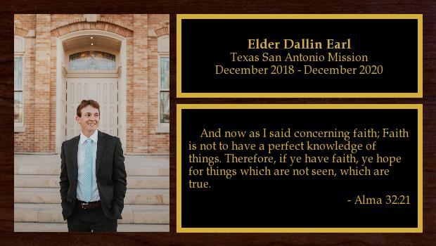 November 2018 to November 2020<br/>Elder Dallin Earl