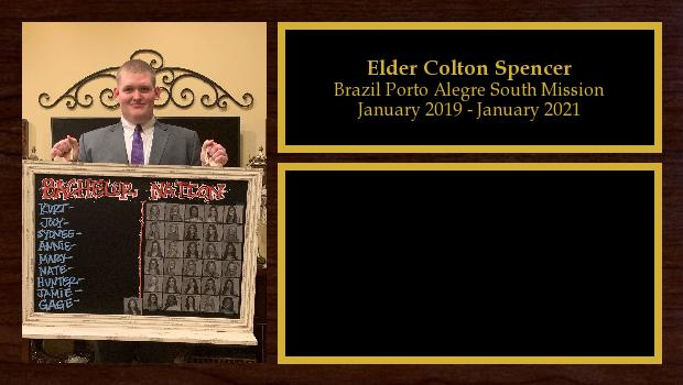 January 2019 to January 2021<br/>Elder Colton Spencer