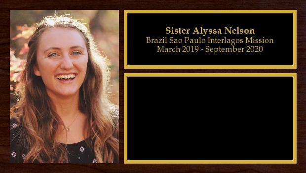 March 2019 to September 2020<br/>Sister Alyssa Nelson