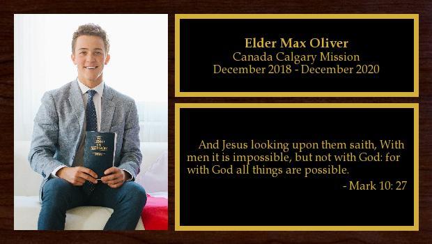 December 2018 to December 2020<br/>Elder Max Oliver