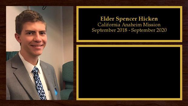 September 2018 to August 2019<br/>Elder Spencer Hicken