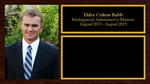 August 2013 to August 2015<br/>Elder Colton Babb
