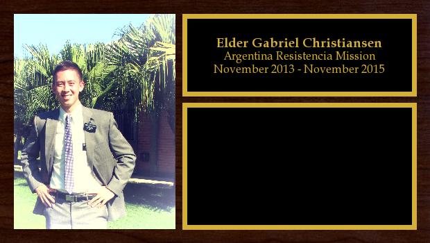 November 2013 to November 2015<br/>Elder Gabriel Christiansen