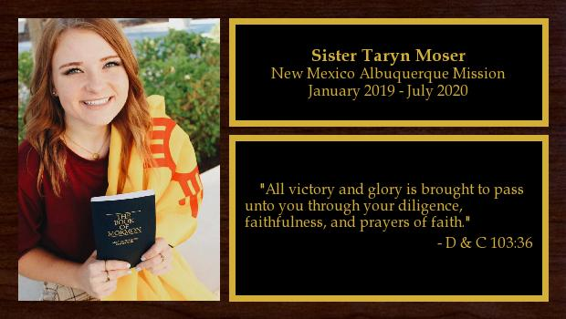 January 2019 to July 2020<br/>Sister Taryn Moser