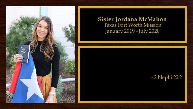 January 2019 to July 2020<br/>Sister Jordana McMahon