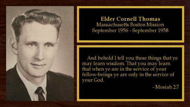 September 1956 to September 1958<br/>Elder Cornell Thomas
