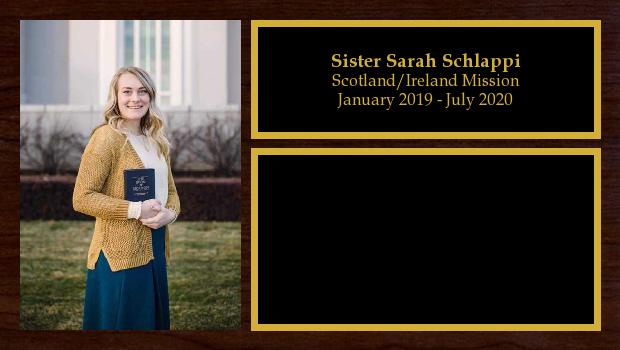 January 2019 to July 2020<br/>Sister Sarah Schlappi