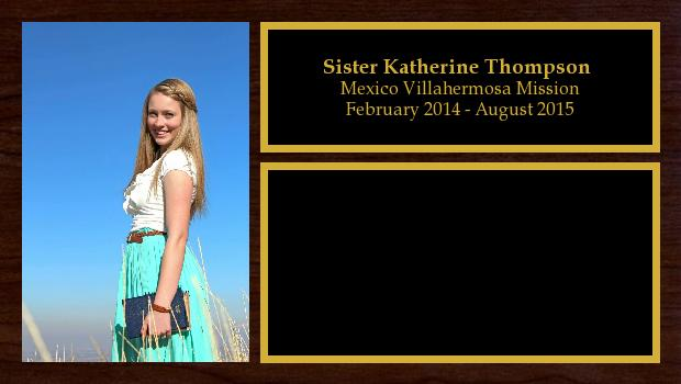 February 2014 to August 2015<br/>Sister Katherine Thompson