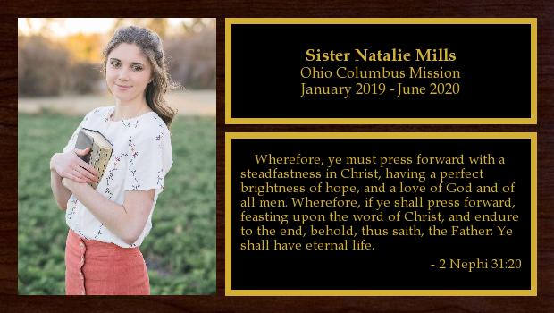 January 2019 to June 2020<br/>Sister Natalie Mills
