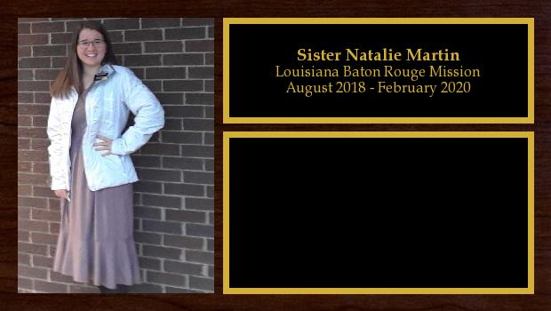 August 2018 to March 2020<br/>Sister Natalie Martin