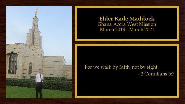 March 2019 to March 2021<br/>Elder Kade Maddock