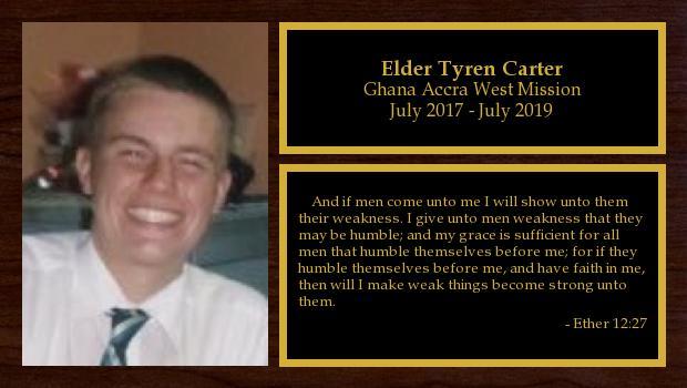 July 2017 to July 2019<br/>Elder Tyren Carter