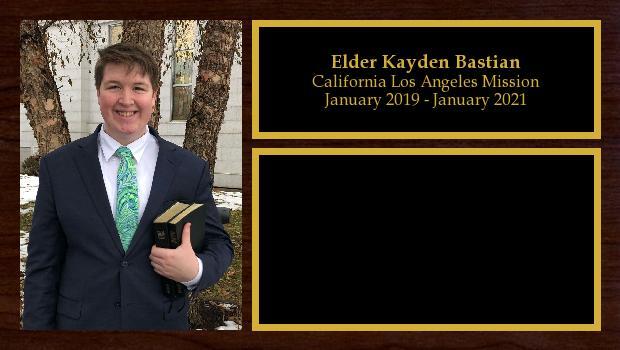 January 2019 to January 2021<br/>Elder Kayden Bastian