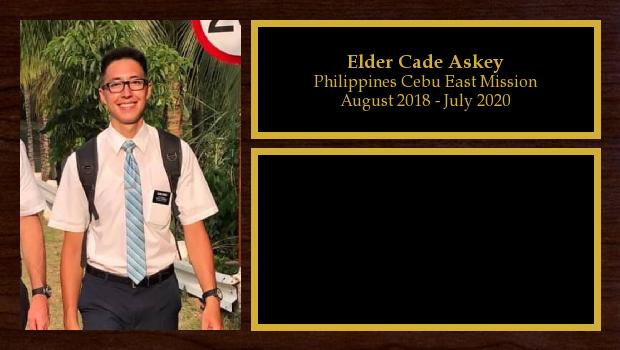 August 2018 to July 2020<br/>Elder Cade Askey