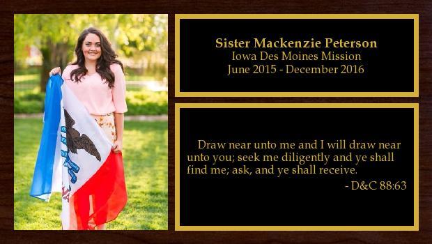 June 2015 to December 2016<br/>Sister Mackenzie Peterson