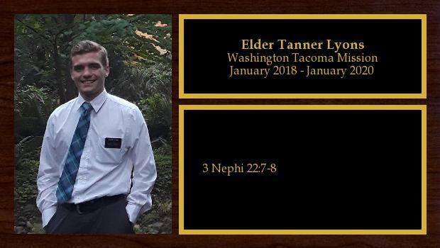 January 2018 to January 2020<br/>Elder Tanner Lyons