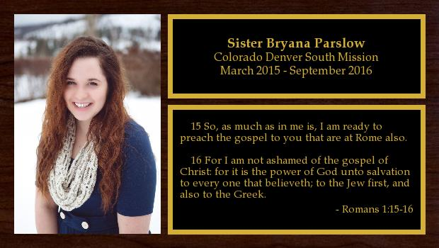 March 2015 to September 2016<br/>Sister Bryana Parslow