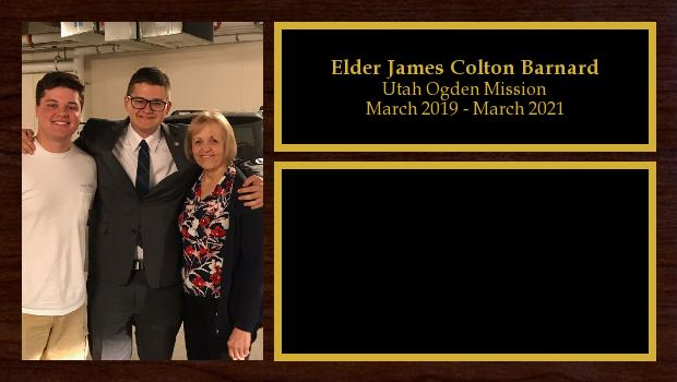 March 2019 to March 2021<br/>Elder James Colton Barnard