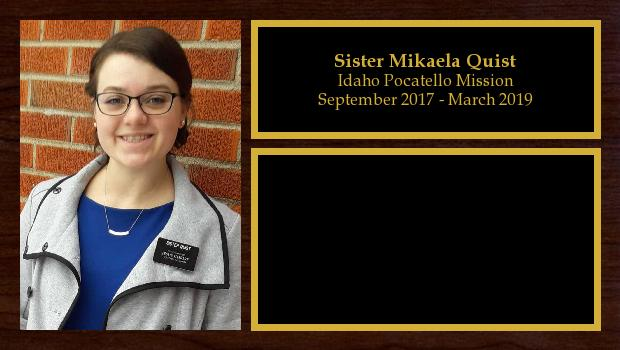 September 2017 to April 2019<br/>Sister Mikaela Quist
