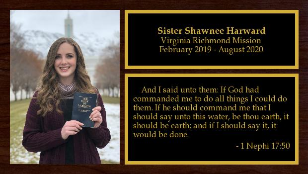 February 2019 to August 2020<br/>Sister Shawnee Harward