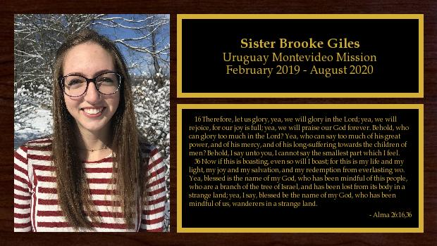 February 2019 to August 2020<br/>Sister Brooke Giles