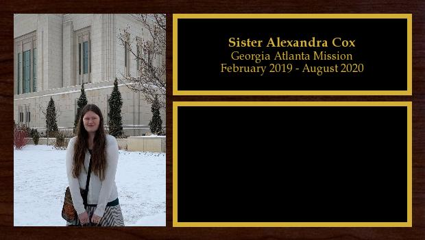 February 2019 to August 2020<br/>Sister Alexandra Cox